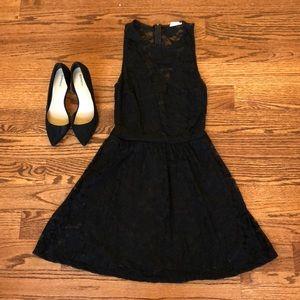 Black Lace Deep V Dress